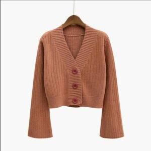 2020 Cardigan Autumn Long Flare Sleeve Short Sweater for Women
