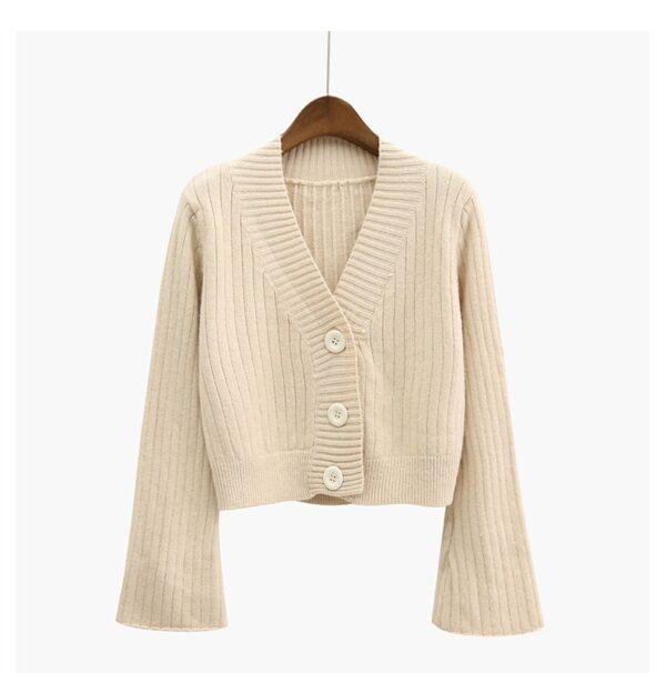 2020 Cardigan Autumn Long Flare Sleeve Short Sweater for Women