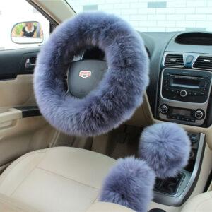 3pcs Winter Steering Wheel Covers Wool Heated Steering Wheel Cover Plush Covers
