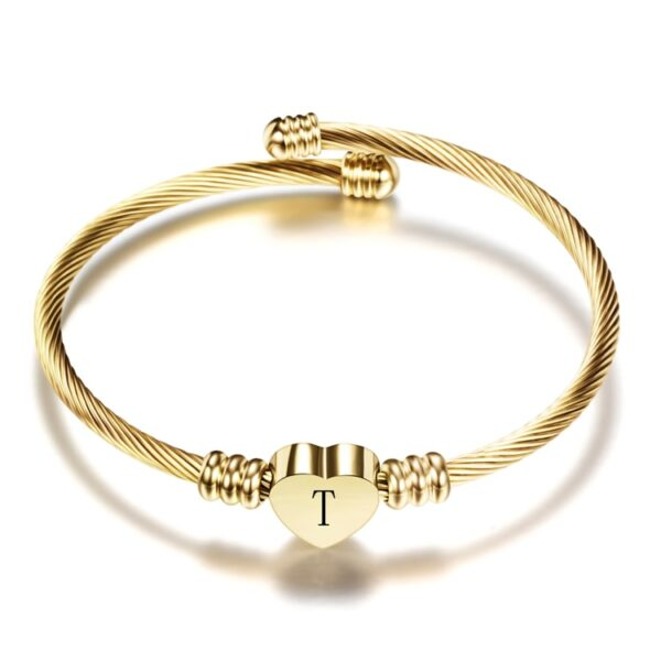 Gold Color Stainless Steel Heart Bracelet Bangle With Letter For Women